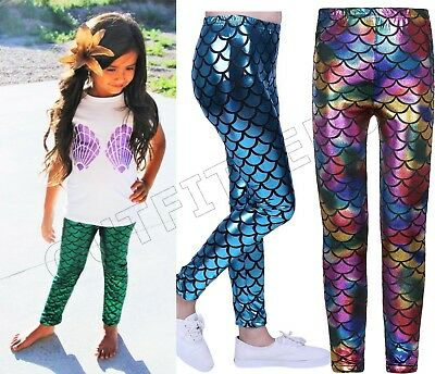 Girls Metallic Mermaid Leggings Kids Shiny Foil Children 3-13 Years