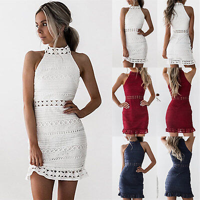 UK Womens High Neck Lace Bodycon Cocktail Ladies Summer Party Short Mini Dress