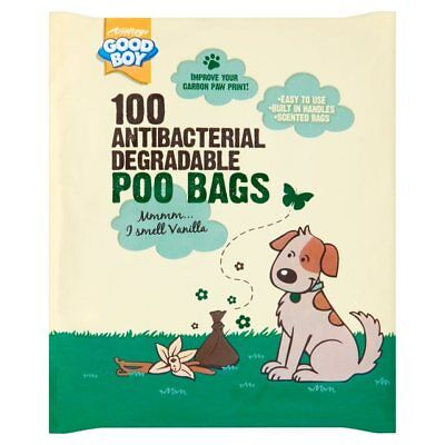 100 Vanilla Scented Antibacterial Degradable Dog Poo Waste Bags With Handles