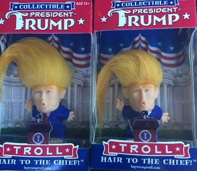 2 Collectible President Donald Trump Troll Doll - Hair To The Chief Dúo