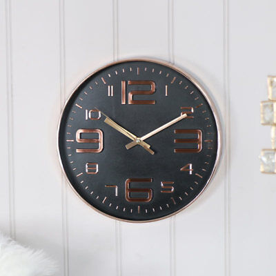 Round polished copper wall clock vintage modern wall mounted battery operated