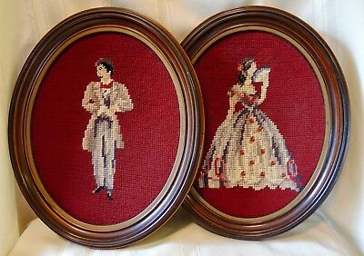 Pair of Vintage Needlepoint Completed Victorian Man & Woman