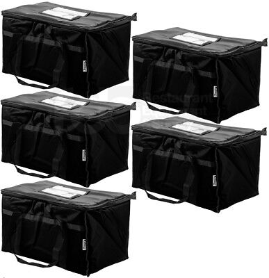 5 PACK Insulated BLACK Catering Delivery Chafing Dish Food Full Pan Carrier Bag
