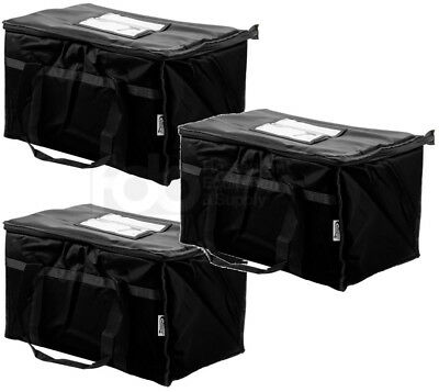 3 PACK Insulated BLACK Catering Delivery Chafing Dish Food Full Pan Carrier Bag