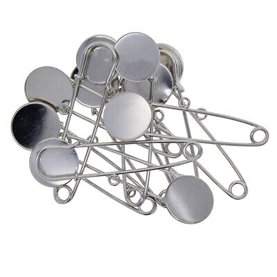 10x Silver Brooch Base Findings Safety Pins Connectors for Jewelry Making