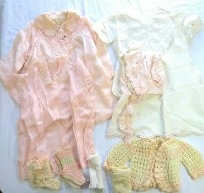 Vintage Baby Toddler Clothes Lot c 1950s Pink Satin Dress Booties Sweater Bonnet