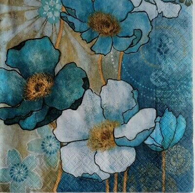 4x paper napkins, use for decoupage/Flowers/Servilletas papel decoupage flores.