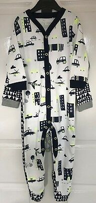 Ex Next Baby Boys Transport Car Triangle 2 Pack Sleepsuits Babygrow 3 9 12 18 24