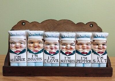 1950's 'Little Chef' Spice Jars and Wooden Rack (Set of 6-mountable rack)