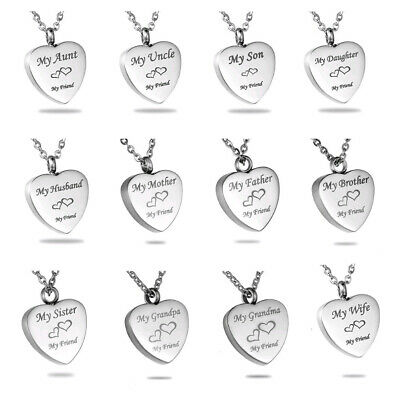 Love Heart Cremation Jewelry for Family Keepsake Memorial Urn Ashes Necklace-NEW