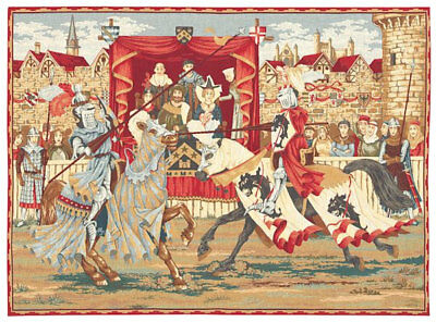 wall tapestry hanging medieval jousting knights tournament jacquard woven