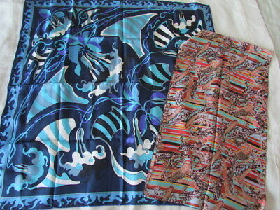 Silk Scarf Emilio Pucci lot Floral Paisley Abstract Malfroy France new Blue Aqua