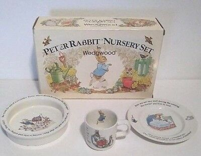 Peter Rabbit Nursery set by Wedgewood, plate, cereal bowl, cup by Beatrix Potter