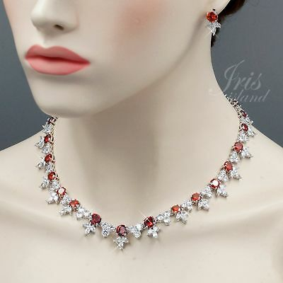 White Gold Plated Red Cubic Zirconia Necklace Earrings Wedding Jewelry Set 00723