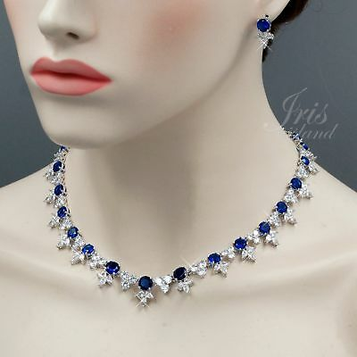 White Gold Plated Blue Cubic Zirconia Necklace Earrings Wedding Jewelry Set 0732