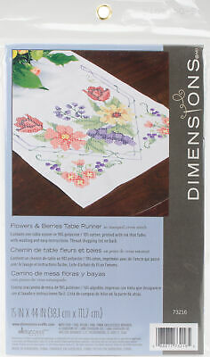 """Dimensions Stamped Cross Stitch Table Runner 15""""X44""""-Flowers & Berries (2Pk)"""
