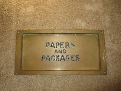 Vintage Yale Brass Letter Mail Slot Paper & Packages Post Office Wall Door Mount
