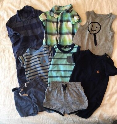 6-12 Month Baby Boy Baby Gap Lot EUC 8 Pieces Romper Shirts Tank Shorts