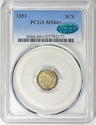 1851 P 3 Cent Silver 3Cs *pcgs Ms66+* *cac!* *plus!* *scarce!!* *free Shipping*