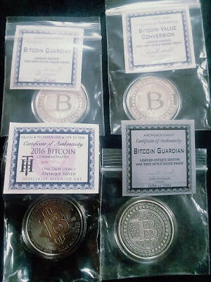 2016 Bitcoin ROUNDS 1 oz. SILVER x 4 you get ALL THE MAIN RARE ROUNDS HERE LOOK