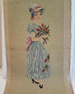 Vintage Needlepoint Young Girl With Hat and Flowers