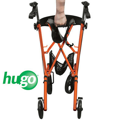 Hugo Sidekick Side-Folding Walker Rollator With Seat, Tangerine