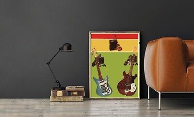 "Large Size 24""x32"" Vintage 1960's Guitars Poster - Made in Japan"