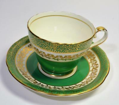 60s AYNSLEY Bone China England Green Gold LEAVES #C881 Set Tea Cup & Saucer