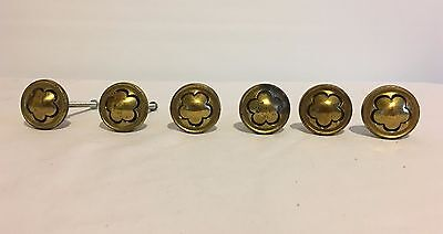 "6 ctVintage Brass Keeler Drawer Cabinet Pulls w/XL Screws Daisy Floral 1-1/4""Dia"