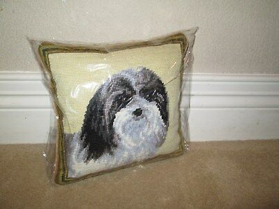 Havanese Dog  Handmade Needlepoint Pillow 10 by 10 NWT
