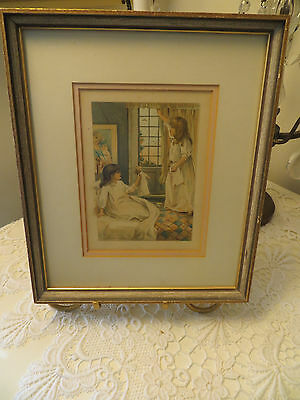Vintage Print Two Girls Playing With Dolls Framed