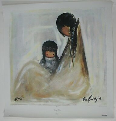 Navajo Mother Ettore DeGrazia Vintage 1965 Signed Native American Art Print