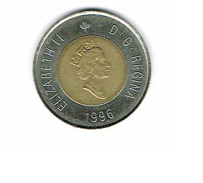 Canada 1996 Release Year Toonie Canadian $2 Dollars Two Dollar ACTUAL COIN SHOWN