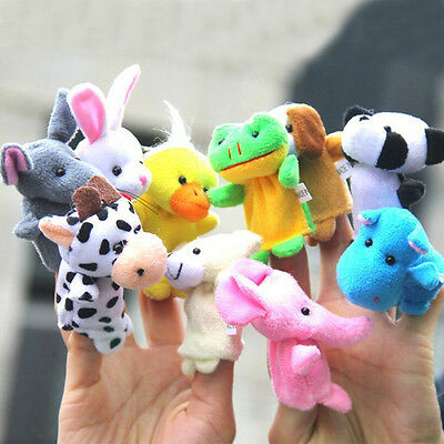 10 Pcs× Finger Puppets Cloth Doll Baby Educational Hand Cartoon Animal Kids Toy