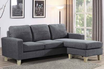 Hot Sale L Shaped Corner Chaise Sofa Charcoal Grey Fabric Modern
