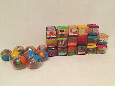 Lot 27 Fisher Price Sensory Play Cubes Peek a Boo Blocks Animals Roll a Rounds