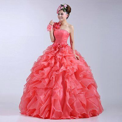 Womens Formal Pink Prom Party Ball Dresses Bridal Wedding Gown Evening Dress