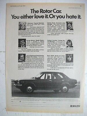 1974 Mazda Rx-3 The Rotor Car Love It Or Hate It British Magazine Advertisement