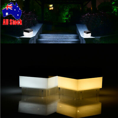 2PCS Solar Powered Fence Post Pool LED Square Light Garden Waterproof Decor AU