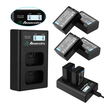NP-FW50 Battery for Sony Alpha A6500 A6300 A6000 A7r A7 + Dual USB LCD Charger
