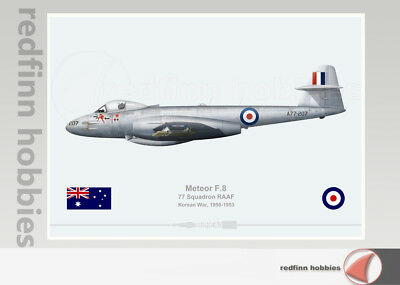 Warhead Illustrated Meteor F.8 77Sqn RAAF  A77-207 Bowl Em Over Aircraft Print