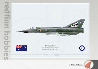 Warhead Illustrated Mirage IIIO 75Sqn RAAF Butterworth A3-24 Aircraft Print V2