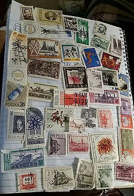 Stamp Collection POLSKA POSTAL 41 STAMPS USED ASSORTED Vintage 1940-1960