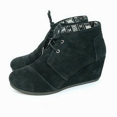92ee6480a162 TOMS WOMEN S BLACK   Gold Sparkle Tweed Desert Wedge Bootie Size 7.5 ...