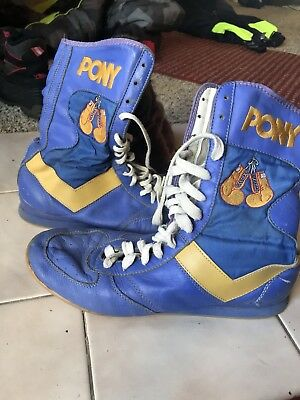 Vintage Rare Pony Boxing Shoes Boots Adult Sz 11 Blue Gloves 70s