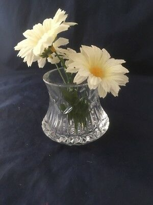 "Tyrone Crystal Vase 2 3/4"" High Etched Tyrone On Bottom (66)"