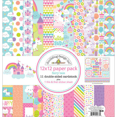 """Doodlebug FAIR5677  Double-Sided Paper Pack 12""""X12""""-Fairy Tales"""