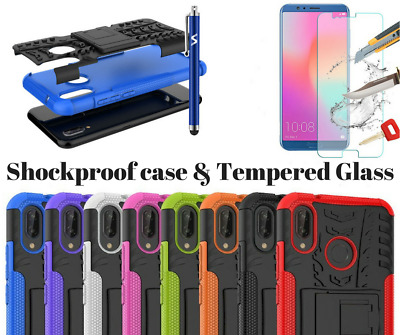 For Huawei P20/P20 Lite/P20 Pro Heavy Duty Shock Proof Builder Case Cover& Glass