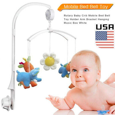 Rotary Baby Crib Mobile Bed Bell Toy Holder Arm Bracket Hanging Music Box DIY US
