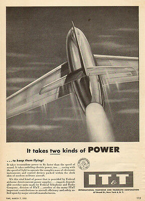 1955 vintage AD  IT&T BELL X-1 Breaks Speed of Sound Federal Telephone  041815